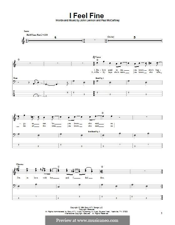 I Feel Fine (The Beatles): For bass guitar with tab by John Lennon, Paul McCartney