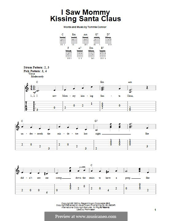 I Saw Mommy Kissing Santa Claus: For guitar (very easy version) by Tommie Connor