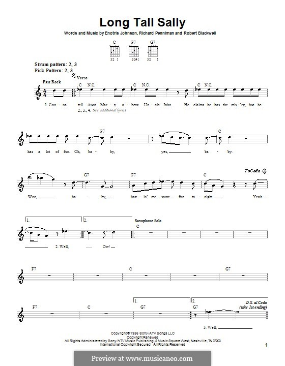 Long Tall Sally: For guitar (very easy version) by Little Richard, Enotris Johnson, Robert A. Blackwell