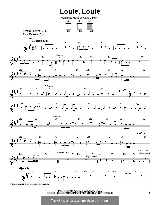 Louie, Louie (The Kingsmen): For guitar with tab by Richard Berry