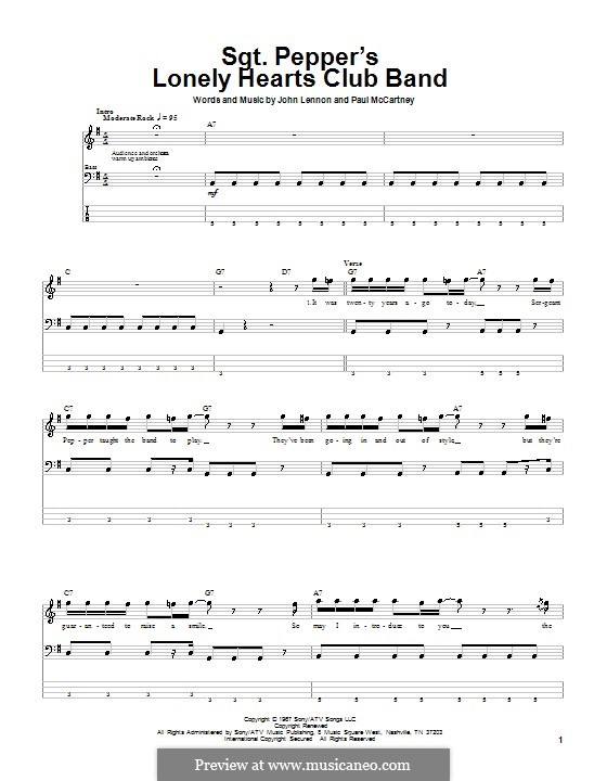 Sgt. Pepper's Lonely Hearts Club Band (The Beatles): For bass guitar with tab by John Lennon, Paul McCartney