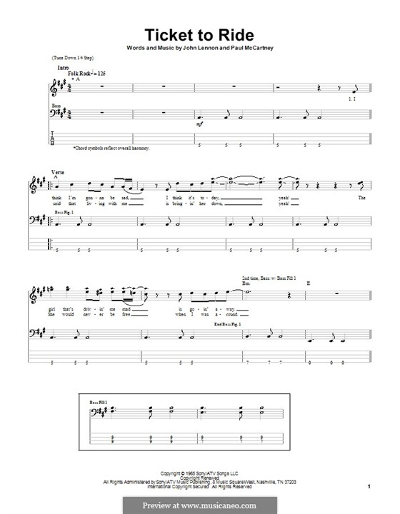 Ticket to Ride (The Beatles): For bass guitar with tabulature by John Lennon, Paul McCartney