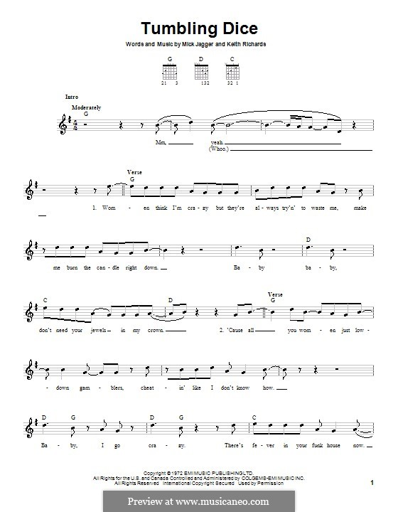 Tumbling Dice (The Rolling Stones): For guitar (very easy version) by Keith Richards, Mick Jagger