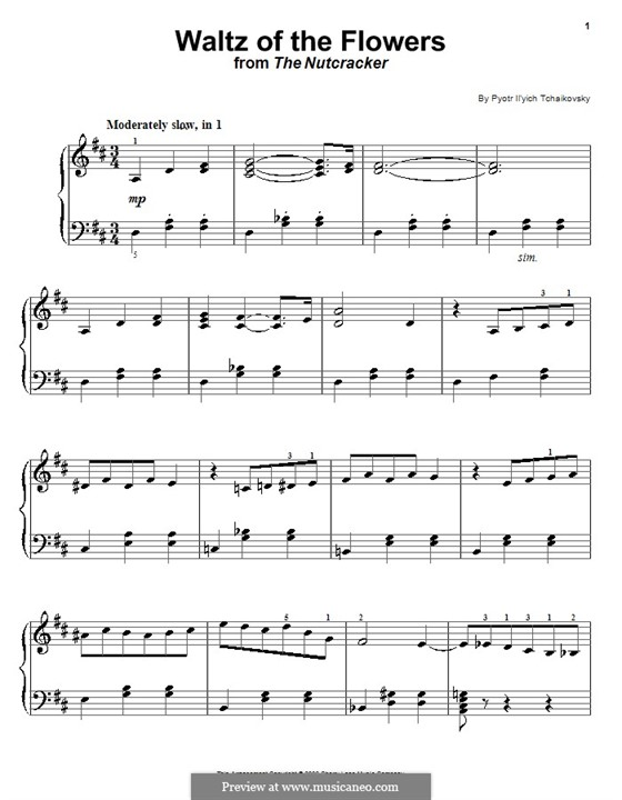 No.8 Waltz of the Flowers: For easy piano by Pyotr Tchaikovsky