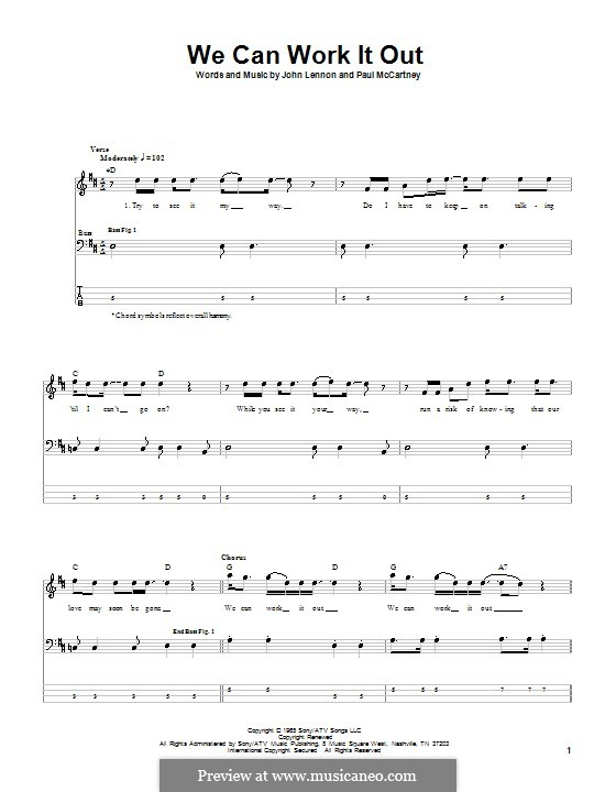 We Can Work it Out (The Beatles): For bass guitar with tabulature by John Lennon, Paul McCartney