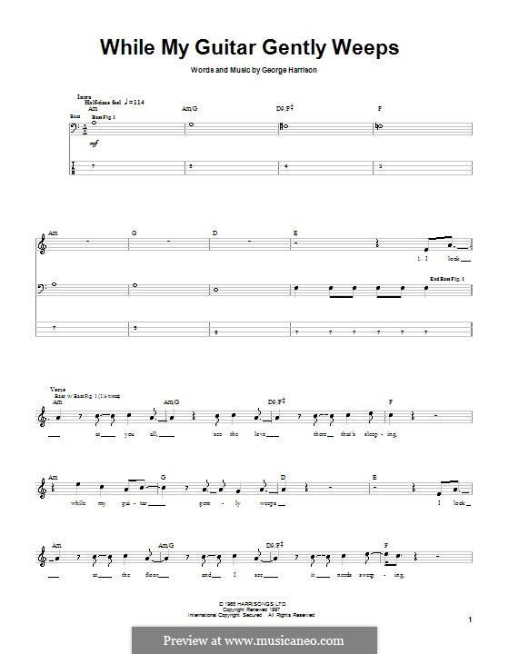 While My Guitar Gently Weeps (The Beatles): For bass guitar with tab by George Harrison