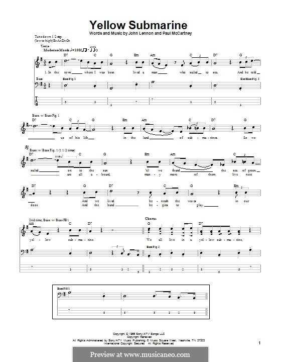 Yellow Submarine (The Beatles): For bass guitar with tabulature by John Lennon, Paul McCartney
