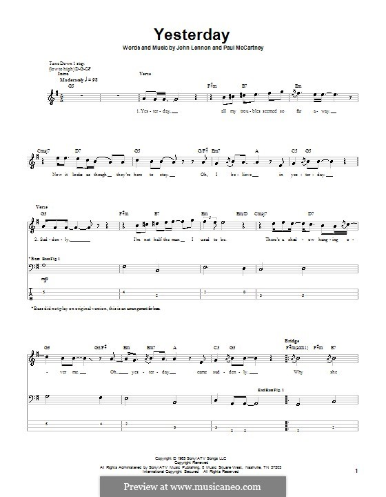Yesterday (The Beatles): For bass guitar with tabulature by John Lennon, Paul McCartney