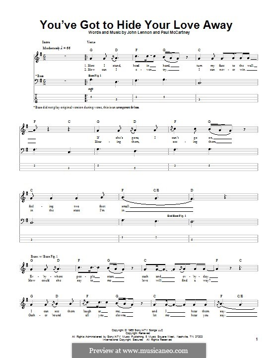 You've Got to Hide Your Love Away (The Beatles): For bass guitar with tab by John Lennon, Paul McCartney