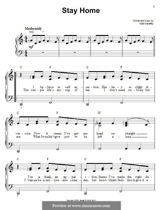 Stay Home (Self): For easy piano by Matt Mahaffey