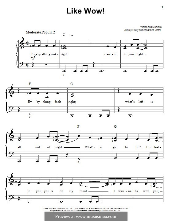 Like Wow! (from Shrek): For easy piano by Sandra St. Victor