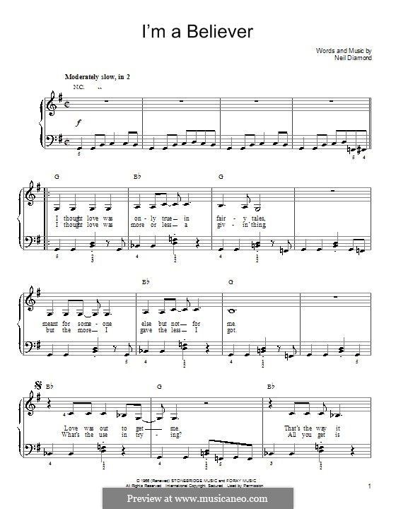 I'm a Believer: For easy piano (with chords) by Neil Diamond