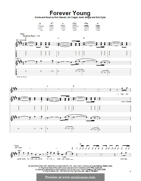 Forever Young II: For guitar with tab by Bob Dylan, Jim Cregan, Kevin Savigar, Rod Stewart