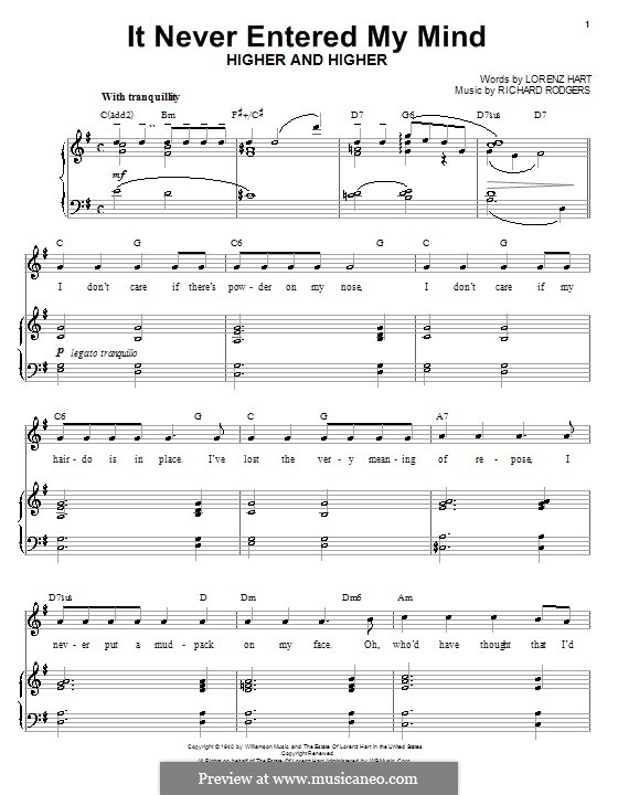 It Never Entered My Mind: For voice and piano (or guitar) by Richard Rodgers