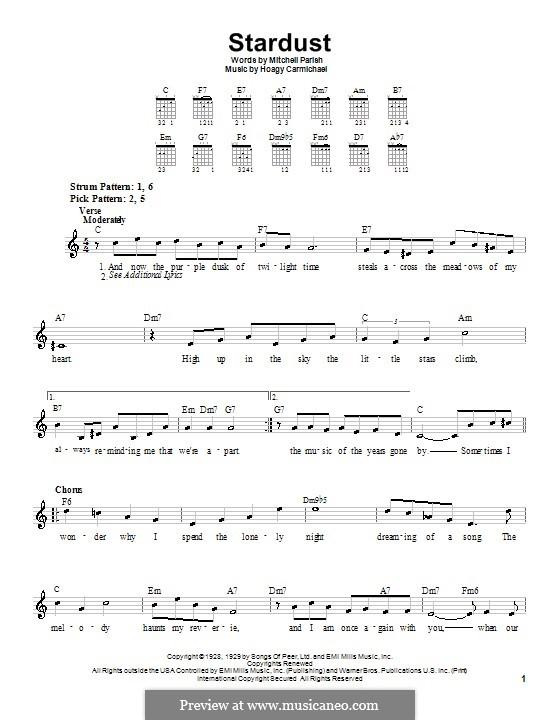 Stardust (Frank Sinatra): For guitar (very easy version) by Hoagy Carmichael