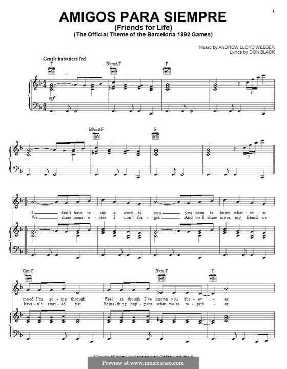 Amigos Para Siempre (Friends for Life): For voice and piano (or guitar) by Andrew Lloyd Webber