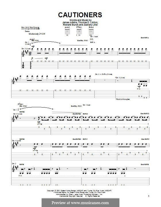 Cautioners (Jimmy Eat World): For guitar with tab by James Adkins, Richard Burch, Thomas D. Linton