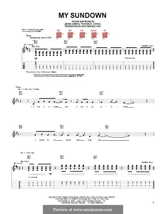 My Sundown (Jimmy Eat World): For guitar with tab by James Adkins, Richard Burch, Thomas D. Linton