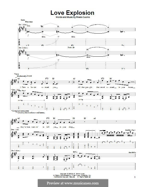Love Explosion (Weezer): For guitar with tab by Rivers Cuomo