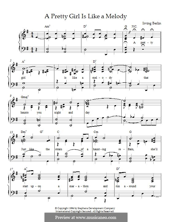 A Pretty Girl is Like a Melody: For piano by Irving Berlin