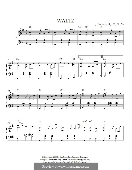 Waltz No.15: For piano (with chords) by Johannes Brahms