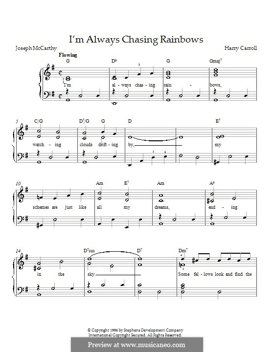 I'm Always Chasing Rainbows: For piano by Harry Carroll