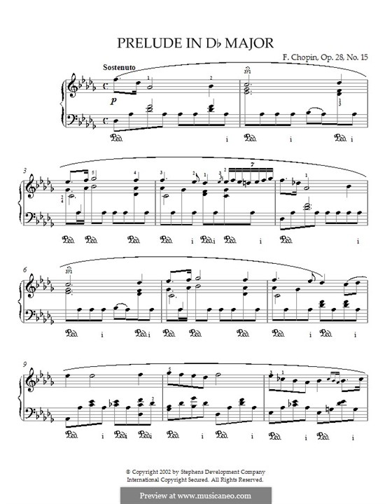 No.15 in D Flat Major: For piano by Frédéric Chopin