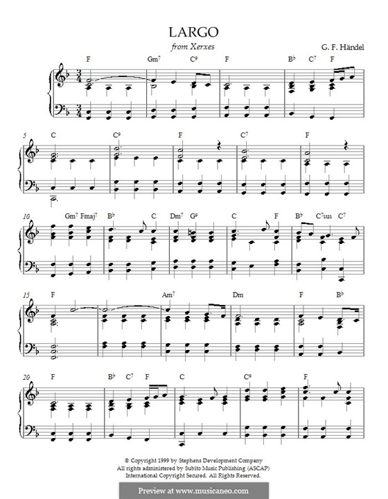 Largo: For piano with chords by Georg Friedrich Händel