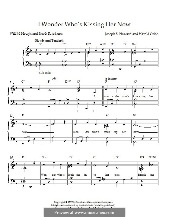 I Wonder Who's Kissing Her Now: For piano by Joseph Edgar Howard