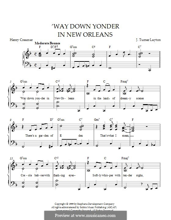 Way Down Yonder in New Orleans: For piano by J. Turner Layton