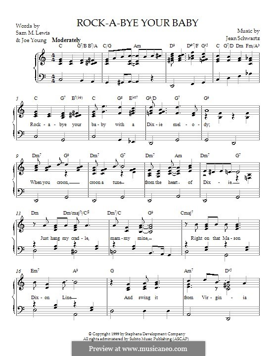 Rock-a-Bye Your Baby with a Dixie Melody (Al Jolson): For piano by Jean Schwartz