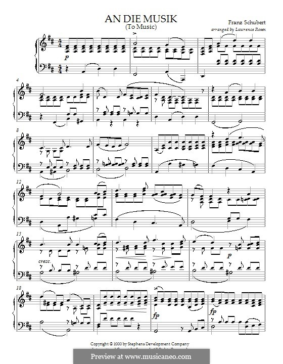 An die Musik (To Music), D.547 Op.88 No.4: For piano by Franz Schubert