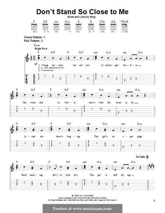Don't Stand So Close to Me (The Police): Easy guitar tab by Sting