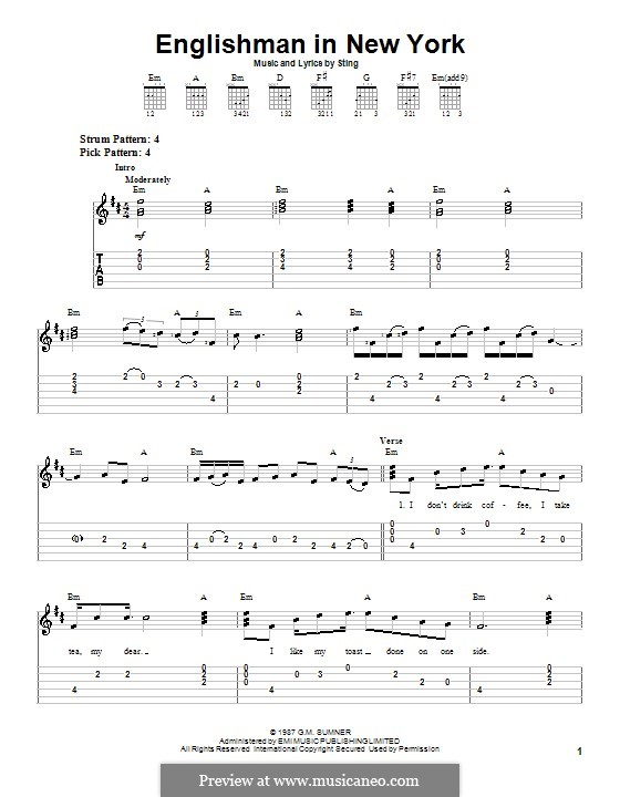 An Englishman In New York: For guitar (very easy version) by Sting
