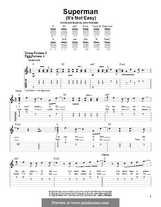 Superman Five For Fighting By J Ondrasik Sheet Music On Musicaneo