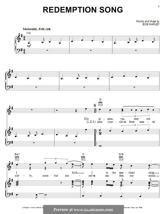 Redemption Song: For voice and piano (or guitar) by Bob Marley