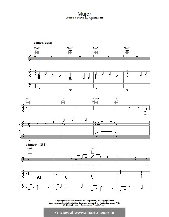 Mujer (Placido Domingo): For voice and piano (or guitar) by Agustin Lara
