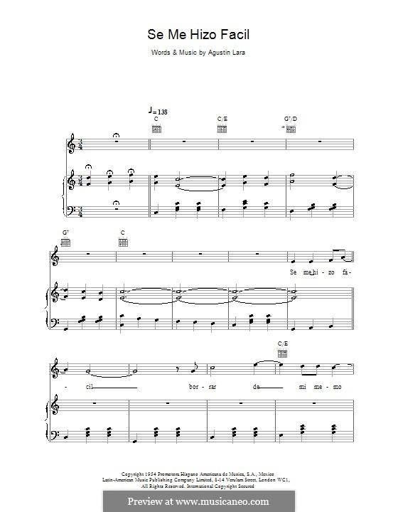 Se Me Hizo Facil (Placido Domingo): For voice and piano (or guitar) by Agustin Lara