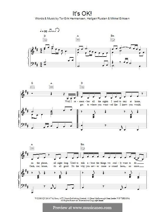 It's OK! (Atomic Kitten): For voice and piano (or guitar) by Hallgeir Rustan, Mikkel Storleer Eriksen, Tor Erik Hermansen