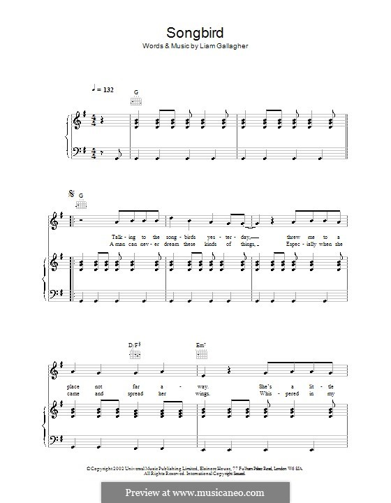 songbird oasis by l gallagher sheet music on musicaneo. Black Bedroom Furniture Sets. Home Design Ideas