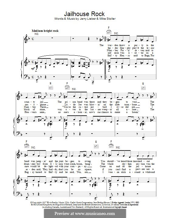 Jailhouse Rock (Elvis Presley): For voice and piano or guitar (F Major) by Jerry Leiber, Mike Stoller