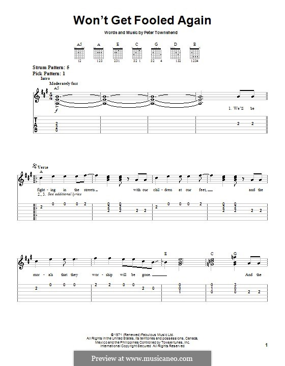 Won't Get Fooled Again (The Who): For guitar (very easy version) by Peter Townshend