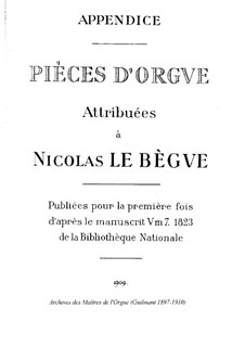 Pieces for Organ: Appendice by Nicolas Lebègue