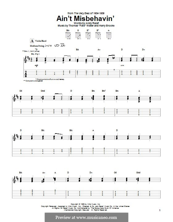 Ain't Misbehavin': For guitar with tab by Fats Waller, Harry Brooks