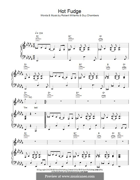 Hot Fudge: For voice and piano (or guitar) by Guy Chambers, Robbie Williams