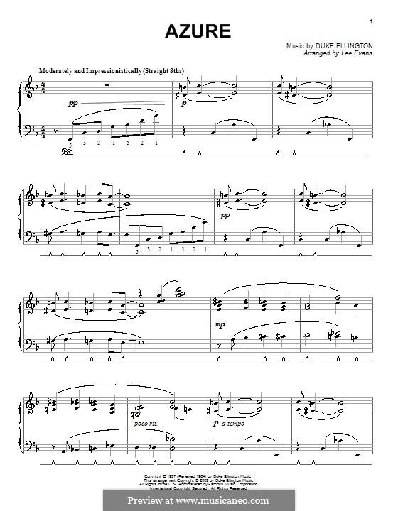 Azure (Duke Ellington): For piano by Irving Mills