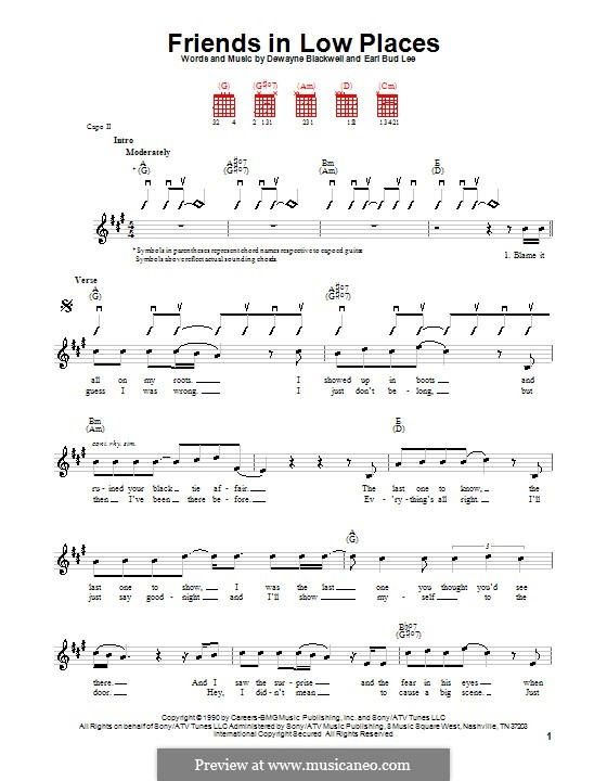 Friends in Low Places (Garth Brooks): For guitar (very easy version) by Dewayne Blackwell, Earl Bud Lee