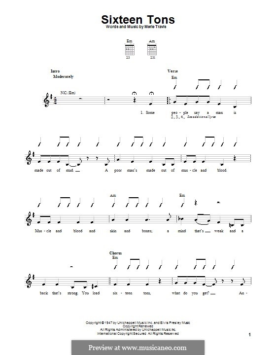 Sixteen Tons (Tennessee Ernie Ford): For guitar (very easy version) by Merle Travis