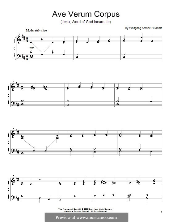 Ave verum corpus, K.618: For piano (high quality sheet music) by Wolfgang Amadeus Mozart