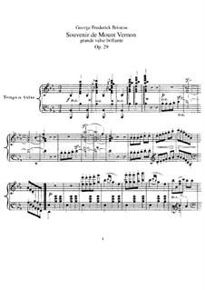 Souvenir de Mount Vernon, Op.29: For piano by George Frederick Bristow